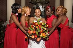 This bridal party is just too fabulous! Love every detail of those stunning red dresses! Click to view more from this red @esplanademphs wedding, featuring gowns by @davidsbridal and formalwear by @menswearhouse! Photographed by Isaac Singleton Photography | The Pink Bride www.thepinkbride.com