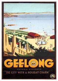 Geelong Holiday Charm Australia Vintage Travel Poster by James Northfield | eBay