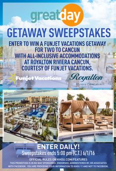 Win an all-inclusive trip for 2 to Cancun - last day! (6/1) via... IFTTT reddit giveaways freebies contests