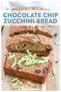 This chocolate chip zucchini bread is moist and flavourful, naturally sweetened and packed with grated zucchini and melt in your mouth chocolatey goodness. Healthy Bread Recipes, Healthy Vegan Desserts, Healthy Baking, Healthy Snacks, Vanilla Recipes, Chocolate Recipes, Baking Recipes, Sweet Recipes, Zuchinni Cookies