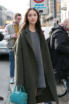#FeiFeiSun #offduty in Milan. Green & grey