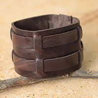 Leather wristband bracelet, 'Handsome Brown'
