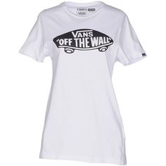 Vans T-shirt ($26) ❤ liked on Polyvore featuring tops, t-shirts, white, white tee, jersey tee, white cotton t shirts, vans t shirt and cotton logo t shirts