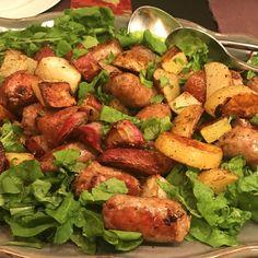 Super Quick Sausage, Potato & Arugula