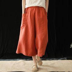 Fabric: Fabric has no stretchSeason: Summer Pant Type: Wild Leg pants Pant Length: Ankle LengthColor: Beige,Blue,Orange Style: CasualMaterial: Linen,Cotton Size: One Size One SizeHip: 124 cm Wide Leg Linen Pants, Wide Leg Denim, Cotton Harem Pants, Type Of Pants, Orange Fashion, Ethnic Fashion, Women's Fashion, Plaid Dress, Retro Dress