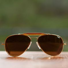 78acb9cfb2 Randolph Engineering Sportsman Sunglasses - Gold Frame Tan Polarized Lens  by Wood and Metal