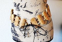 "Belt...Vintage Tribal Belt... Bohemian ""Free Spirit"" look... Hand Made Belt...Wooden Beads and Seashell Beads...Unique Belt by AlinasArt on Etsy"