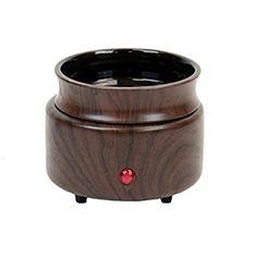 Walnut Wood Finish 2 in 1 Ceramic Stoneware Electric Candle Tart Oil Warmer