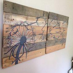 Dandelion Wall Art (Color version) Pallet Art,21x21, 2 piece,Blowing Dandelion,Dandelion Art,Dandelion Painting,rustic wood planks,reclaimed