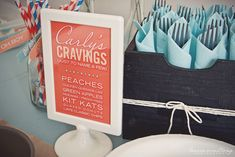 Serve the mommy-to-be's food cravings at the baby shower. Such a great idea!
