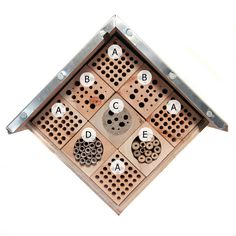 """Can't wait to try out my bee hotel in the Spring. Designed in collaboration with Kate MacRae (WildlifeKate) and constructed by my talented brother-in-law, who's an engineer. Basically a box with an aluminium-covered roof and nine wooden blocks 3"""" x 3"""" x6"""". Block A: Mixture - 7mm & 8mm holes Block B: Mixture - 2mm to 10mm holes Block C: Soft mortar with 2mm to 10mm holes Block D: 2"""" hole with paper """"bee tubes"""" Block E: 2"""" hole with bamboo stems...."""