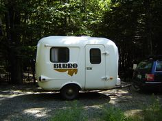 A Burro we spotted in Acadia. we were shocked to find a camper just like ours. they are not exactly common! Retro Campers, Vintage Campers, Vintage Trailers, Happy Campers, Burritos, Fiberglass Camper, Little Trailer, Gypsy Soul, Recreational Vehicles