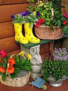 "How to create a Butterfly Garden in a pot at home. Lure butterflies right to your door with a collection of containers filled with nectar-rich flowers. Here are three ways to create a beautiful butterfly garden with ""pots"" you may already have on hand. Even old boots, shoes or clogs can make cute display containers for your favorite butterfly flowers. by sunnie choong"