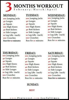 3 month workout plan...need to hang this on the fridge