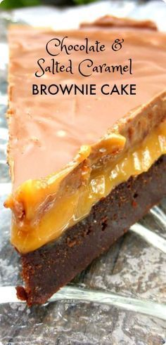 This is one decadently naughty dessert but it is also a very simple one - rich brownie topped with silky cashew caramel finished off with smooth milky chocolate! Chocolate And Salted Caramel Brownie Cake. Brownie Toppings, Brownie Recipes, Cake Recipes, Dessert Recipes, Brownie Cheesecake, Brownie Ideas, Brownie Desserts, Pudding Recipes, Dinner Recipes
