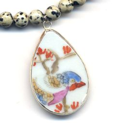Blue Bird Necklace Porcelain Pendant Necklace by Annaart72 on Etsy