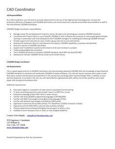 Job Posting for CAD Coordinator