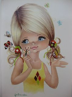 Look at those beautiful butterflies, vintage big eye dollie postcard - RESERVED FOR WENDYTRAIL