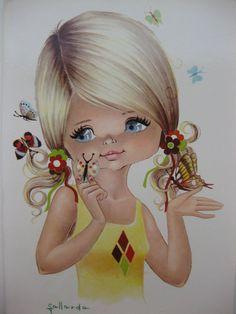 Look at those beautiful butterflies, vintage big eye dollie postcard - RESERVED FOR WENDYTRAIL