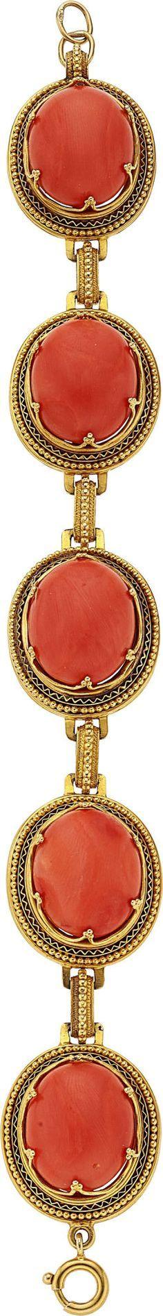 Estate Jewelry:Bracelets, Victorian Coral, Gold Bracelet. ... Image #1