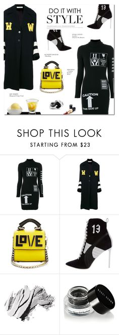 """HANDLE WITH CARE"" by larissa-takahassi ❤ liked on Polyvore featuring Moschino, Off-White, Les Petits Joueurs, Puma, Ultimo, Bobbi Brown Cosmetics, MANGO and blackandwhite"