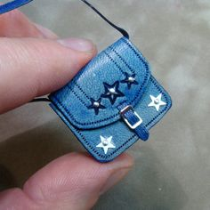 Hand-tooled Dollhouse Miniature Leather Satchel-Denim Blue Star