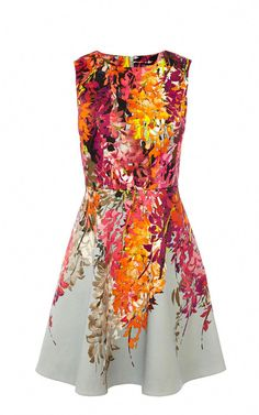 ORIENTAL FLORAL PRINT FIT AND FLARE DRESS  a7d3d7566