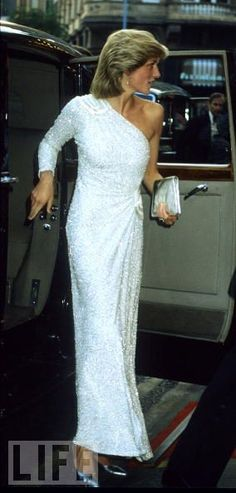 Diana wore this white beaded gown several times. It was first worn in Australia in 1983. She also wore it for the London film premiere of 'Octopussy' on June 6, 1983, and again in 1995 while visiting Washington, D.C.