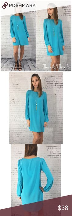 Arctic Blue Shift Dress Beautiful and light weight. Transition into spring with this artificial blue breathable shift dress. Size S,M,L.                              S: bust 38 / length 33 M: bust 40 / length 34 L: bust 42 / length 34 Fabric content: poly Dresses