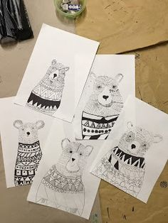 Art Room Britt: Pen and Line Bears with Geometric Sweaters