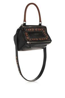 Givenchy Small Pandora shoulder bag in embellished black textured-leather   NET-A-PORTER