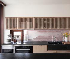 Slatted Wood Wood Slats Patio Design Modern Home Toronto Concrete Wood, Concrete Floors, Wood Wood, White Appliances, Basic Kitchen, Dark Wood Floors, Wood Kitchen Cabinets, Wood Slats, Interior Walls