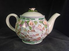 Pink Rose Flowering mosaic teapot by Mosaicsmostly on Etsy