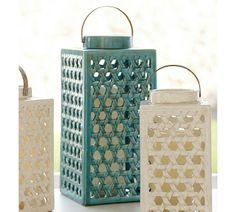 Shoreline Ceramic Lattice Lanterns   Turquoise
