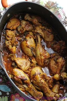 Moroccan Chicken 3 Tbsp olive oil 2 onions, chopped 6 large garlic cloves, chopped 2 Tbsp Hungarian sweet paprika, any other paprika will do 1 1/2 tsp celtic salt 2 tsps turmeric 2 tsp ground coriander 2 tsp fennel seeds, ground 1 teaspoon freshly ground black pepper 1 tsp ground cumin 1 tsp ground ginger 2 tomatoes, chopped 2 cups water 1/4 cup fresh lemon juice 12 chicken thighs, 12 chicken drumsticks 1 large eggplant,  2 Tbsp marjoram 1/2 cup whole blanched almonds