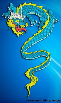 Snow Dragon embroidery design by EmbroSoft on Etsy