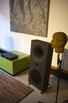 Avant garde loudspeaker. Like the probably accent colour cabinet.