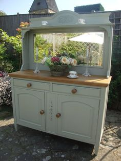 Beautiful victorian oak sideboard painted French Gray and stripped top (one of ours :o)