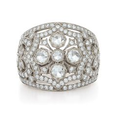 Wide diamond ring with rose cuts from the Kwiat Vintage Collection in 18K white gold