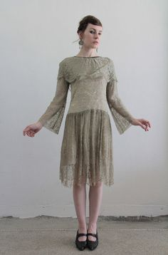 Antique 20s Lace Dress  Moss Green  Flapper  1920s by VeraVague, $285.00