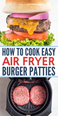 Best air fryer burgers! This recipe makes really juicy air fried hamburgers (or cheeseburgers, whatever you prefer!) in your AirFryer. The patties are made from scratch with fresh ingredients and take next to no time to make, makes a really quick dinner option that your whole family will love! We like to make the patties ahead of time so it's even faster when we are ready to cook them. www.noshtastic.com