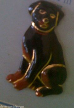Rottweiler  Dog Pin Brooch Jewelry Porcelain Germany Herder Protection Pet Gift