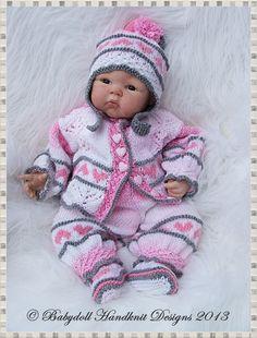 Сердце Мотив коляски костюм 16-22 дюймов кукла / новорожденный / 0-3m Baby-образец вязания, возродиться, куклы, коляски костюм, Babydoll Handknit конструкции