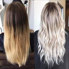 Step 1: Babylights and slices all the way through with 20vol + Olaplex No.1 on the roots. Wait until it's almost lifted to a pale yellow. Step 2: Rinse and apply Olaplex No.2. Let it sit for 5 mins. Step 3: Rooted with level 7 ash and melt it down to level 10 violet ash and 10 pearl. Let it process for 20 mins. Step 4: Rinse. Use purple shampoo then apply Olaplex No.2 again. Let it sit for 5 mins. Rinse. Blowdry. Style.