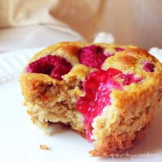 Banana Raspberry Muffins - gluten free, dairy free, (with nut free version) - overnight soaked method. From Quirky Cooking