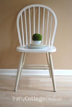 Two tone chair painted with Old White & Country Gray from Annie Sloan Chalk Paint®  - Thrifty Cottage Couture