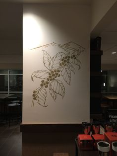 Starbucks Mural - Morgantown, WV. Coffee beans on a branch with mountains in the background. www.artfxdesignstudios.com