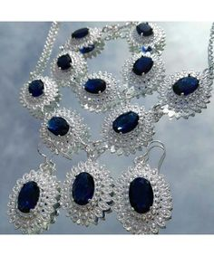 Royal vintage inspired silver plated jewellery set in royal blue
