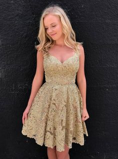A-line V-neck Mini Length Gold Lace Homecoming Dresses