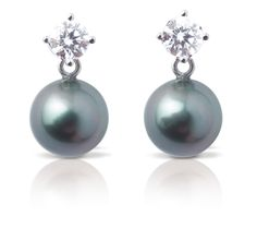Rosendorff Black Pearl Earrings - 18ct white gold drop stud earings featuring one black Tahitian pearl suspended from a claw set round brilliant cut diamond